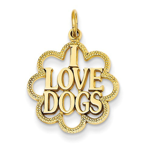"14k Yellow Gold ""I Love Dogs"" Pendant"
