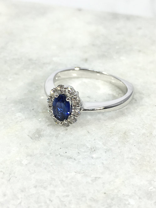 14k White Gold 6/4 Sapphire and .31ctw Diamond Ring
