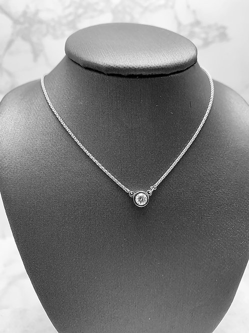 14KW .25ct Diamond Bezel Station Necklace (available in many sizes and colors)