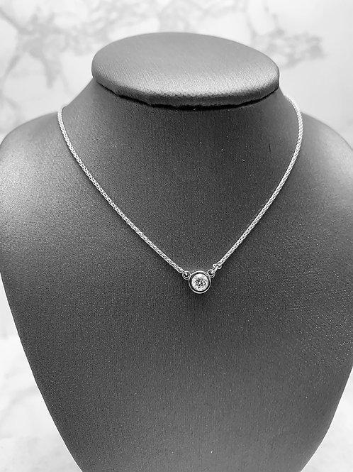 14KW .25ct Diamond Bezel Station Necklace