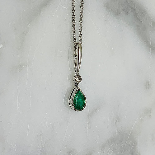 14KW Emerald and Diamond Necklace