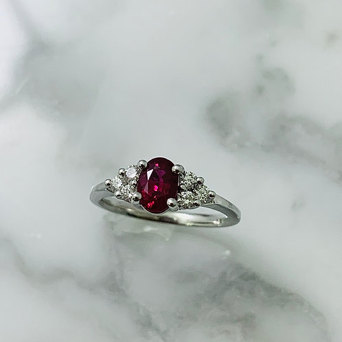 14KW Diamond and Ruby Ring