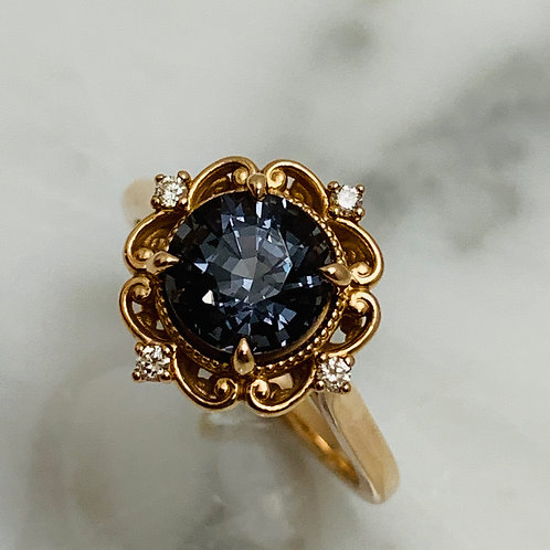 14KR Stormcloud Gray Spinel Ring