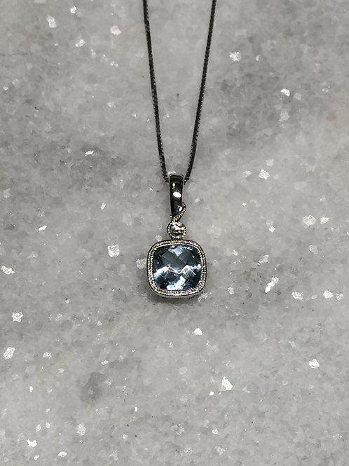 14k White Gold Aquamarine & Diamond Necklace