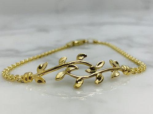 14KY Leaf Bracelet