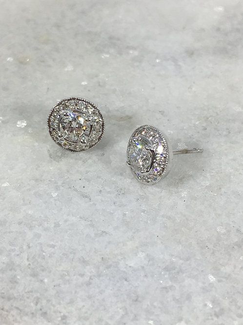 14k White Gold .75ct Diamond Halo Earrings