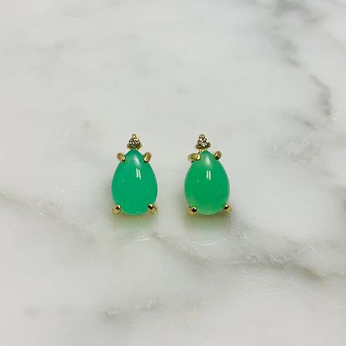 14KY Chrysoprase and Diamond Earrings