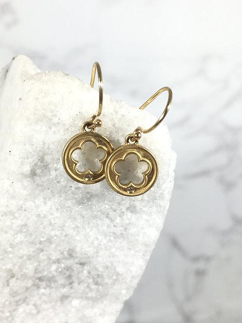 14k Yellow Gold Flower Diamond Earrings