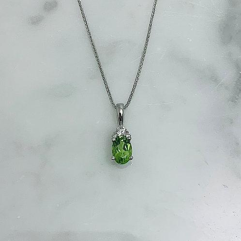 14KW Peridot and Diamond Necklace