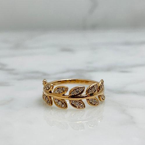14KR Diamond Leaf Ring