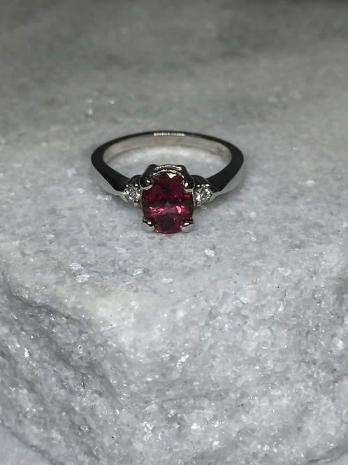 14KW Garnet and Diamond Ring