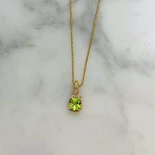 14KY Diamond and Peridot Necklace