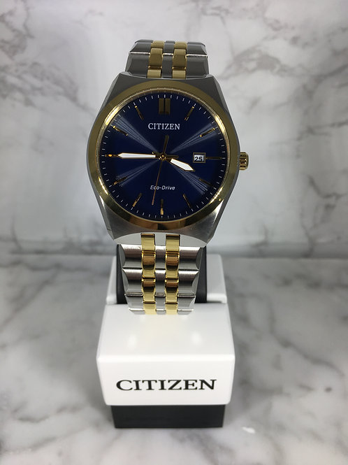 Men's Silver and Gold Citizen Eco-Drive Bracelet Watch