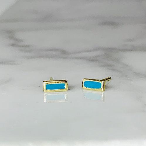 14KY Enameled Blue Earrings