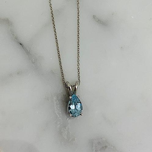 14KW Raindrop Aquamarine Necklace