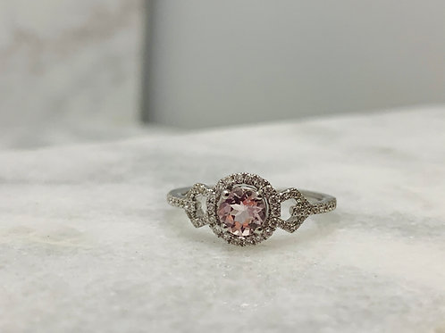 14KW 5mm Morganite and Diamond Ring