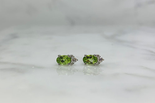 14KW Peridot and Diamond Earrings