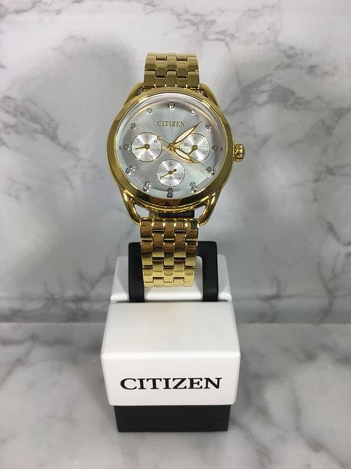 Ladies Gold Citizen Eco-Drive Bracelet Watch