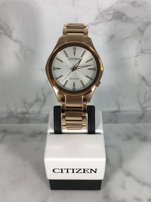 Ladies Rose Gold Citizen Eco-Drive Bracelet Watch