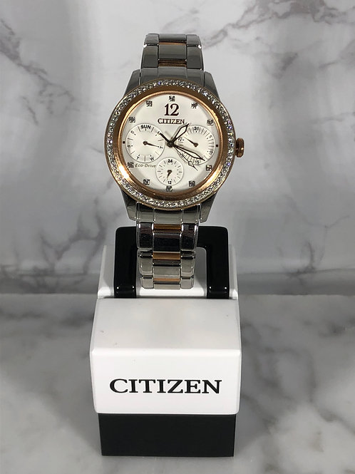 Ladies Silver and Rose Gold Citizen Eco-Drive Bracelet Watch