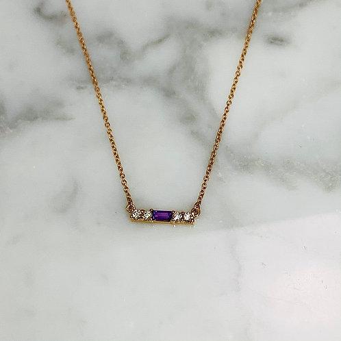 14KR Amethyst and Diamond Bar Necklace