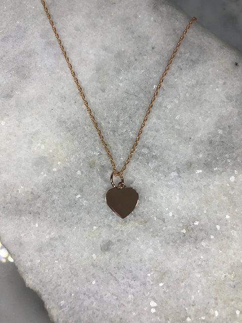 14K Rose Gold Heart Pendant Necklace