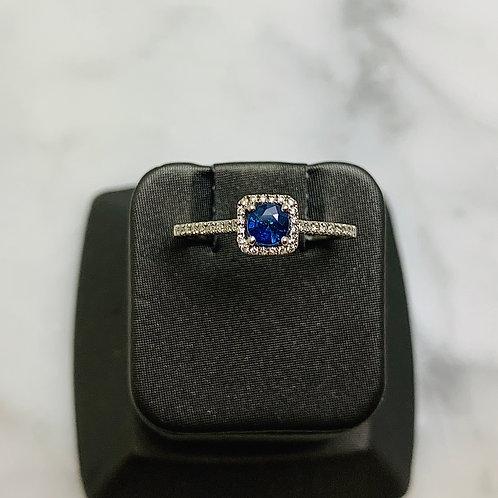14KW Sapphire and Diamond Halo Ring