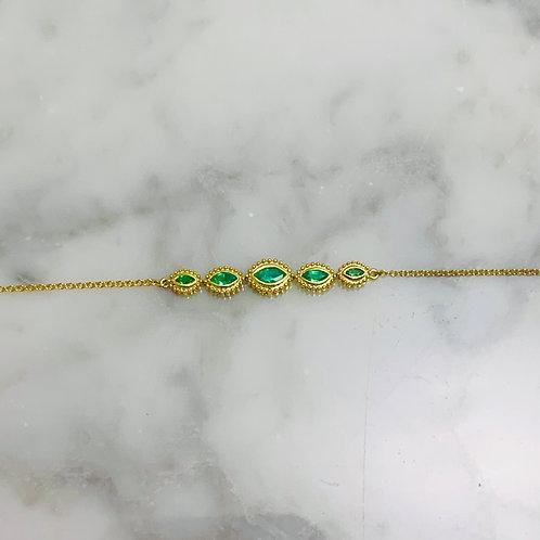 14KY Marquise 5-stone Emerald Bracelet