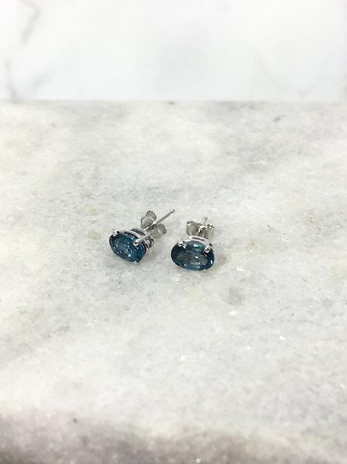 14KW London Blue Topaz Oval Stud Earrings