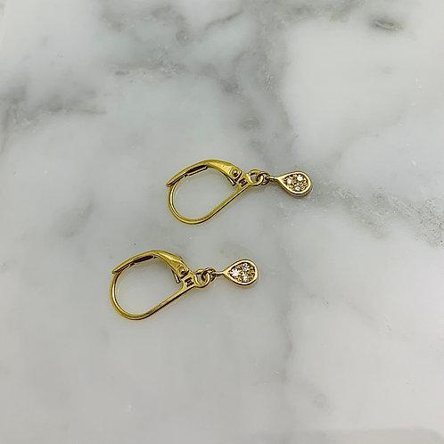 14KY Diamond Raindrop Dangle Earrings