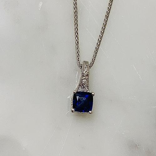 14KW Sapphire and .04ctw Diamond Necklace