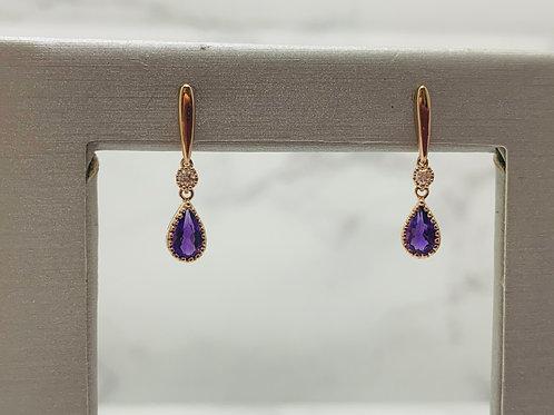 14KR Amethyst and Diamond Earrings