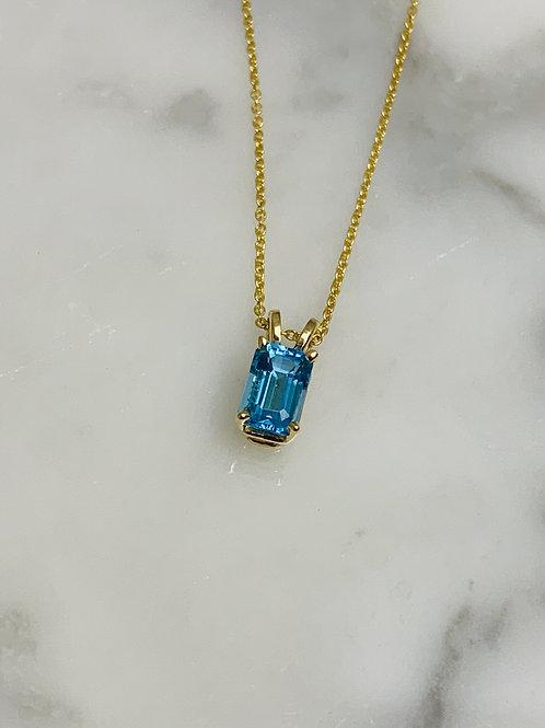 14KY Blue Topaz 6x4mm Necklace