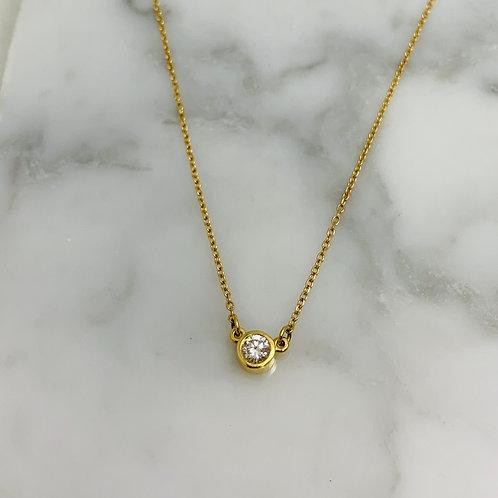 14KY Diamond Bezel Station Necklace