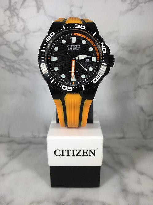 Men's Black and Orange Citizen Eco-Drive Silicone Strap Watch