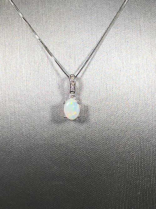 14k Diamond and Opal  Necklace