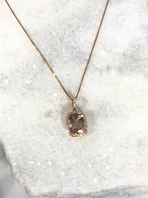 14k Rose Gold 2ct Morganite and .15ct Diamond Necklace