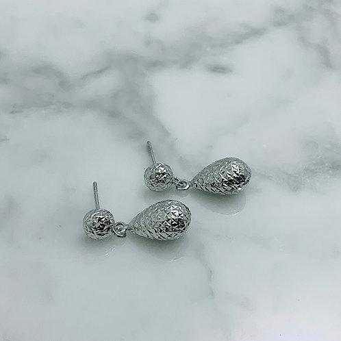 14KW Diamond-Cut Raindrop Dangle Earrings