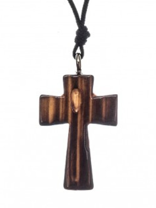 Hand-Burnt Wood Cross Pendant
