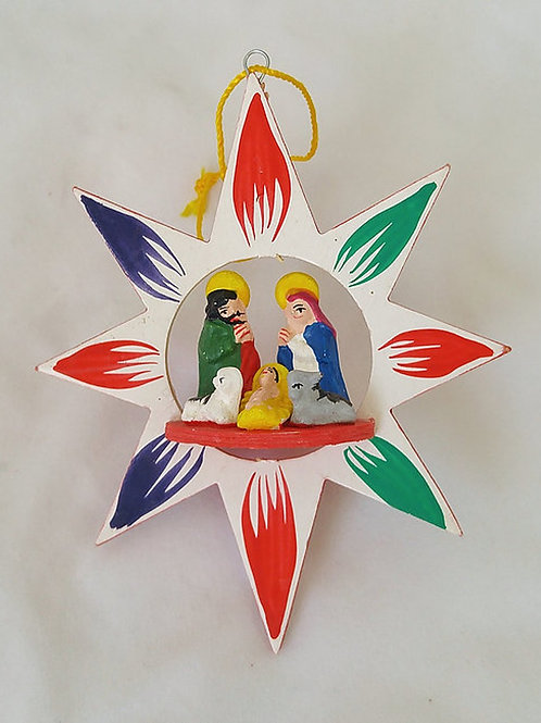 Peruvian Folkart Wooden Star Ornament with Nativity