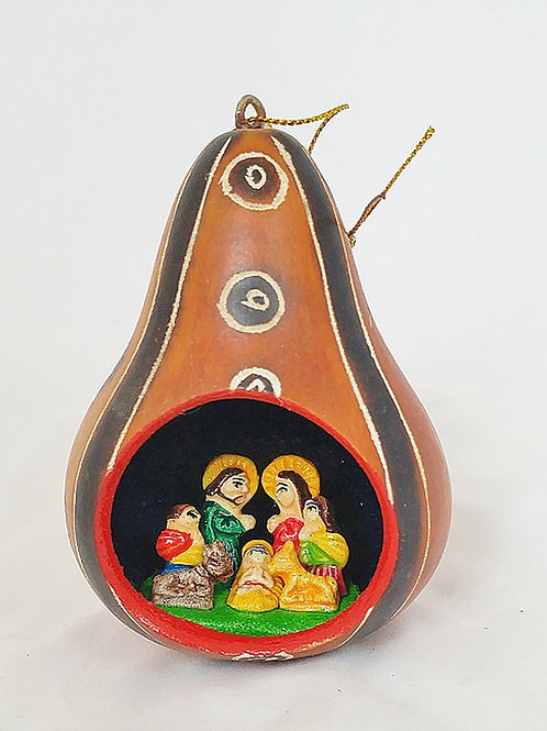 Carved Gourd Or ament with Nativity Scene inside