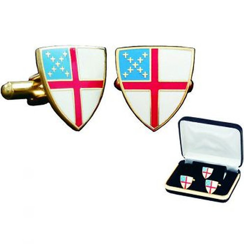 Episcopal Shield Cufflinks with Tie Tac/Lapel Pin set.