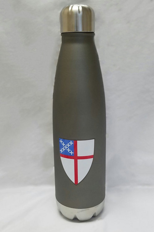 Stainless steel water bottle with colored Episcopal Shield