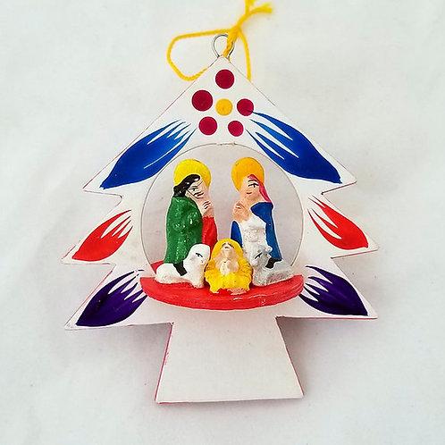 Peruvian Folkart Wooden Tree Ornament with Nativity