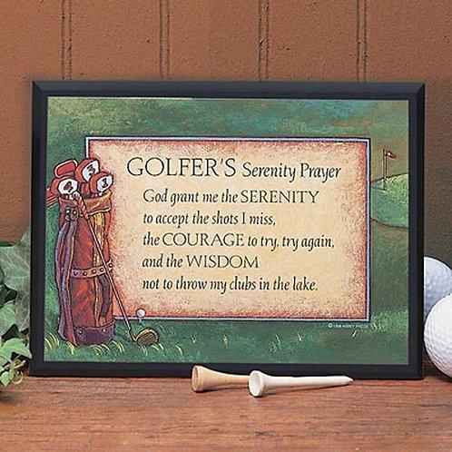 """Golfers Serenity Prayer"" Plaque"