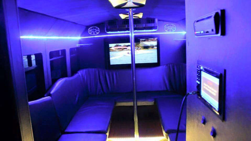 • Safety Pole (Select Vihicles) • HD TV Screens • Limo Style Seating