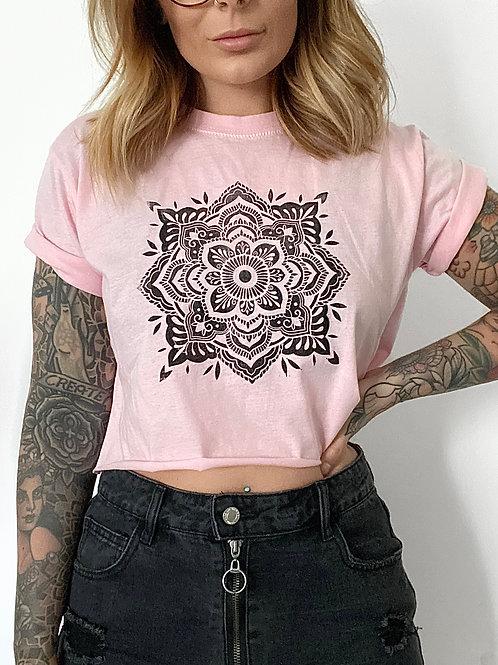 Cropped Lino Print Mandala Tee Pink