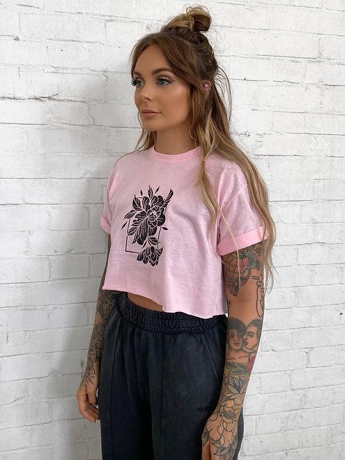 Crop Peony Tee- Pink