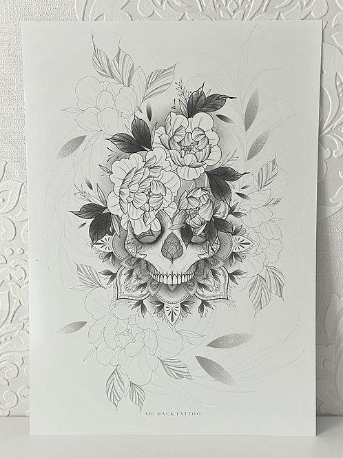 A3 Skull Peony Print