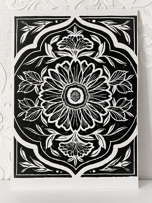 A4 Lino Print Sunflowers